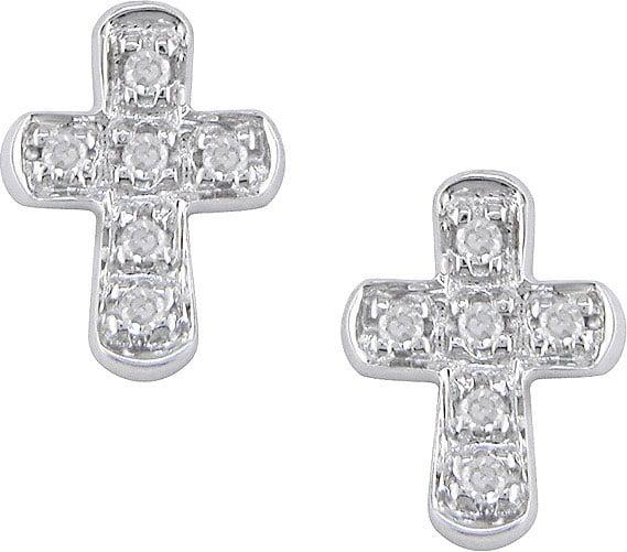 Miadora 10k White Gold Diamond Cross Earrings