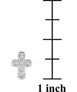 Miadora 10k White Gold Diamond Cross Earrings - Thumbnail 2