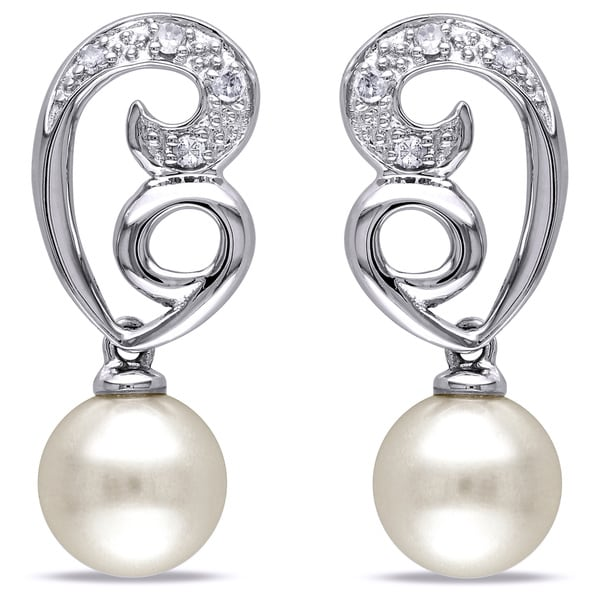 Miadora 10k White Gold Cultured Freshwater Pearl Diamond Earrings