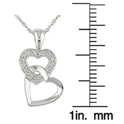 Miadora 10k White Gold Diamond Double-heart Necklace