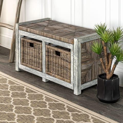"happimess Rustic 30"" 2 Drawer Wicker Storage Bench, Gray"