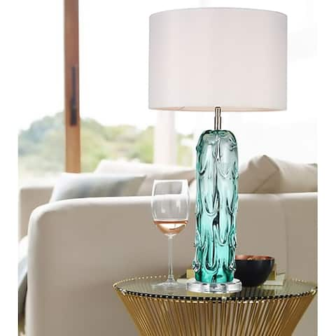 Relaxing and Simple Blue Glass Table Buffet Lamp By Lucas McKearn