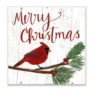 Link to Stupell Industries Merry Christmas Red Bird Wood Texture Holiday Word Design Wood Wall Art, 12 x x12, Proudly Made in USA Similar Items in Christmas Decorations