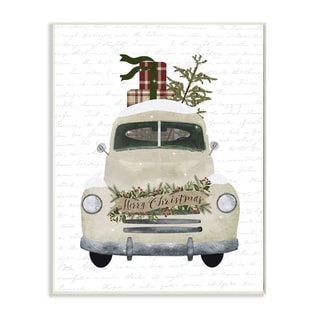 Stupell Industries Merry Christmas Snow Covered Truck Holiday Design Wood Wall Art, Proudly Made in USA