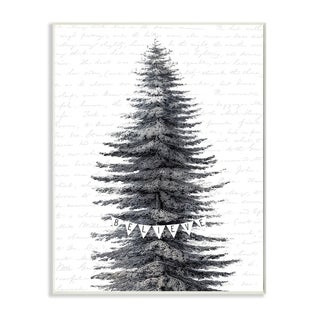 Stupell Industries Snow Covered Christmas Tree Believe Holiday Word Design Wood Wall Art, Proudly Made in USA