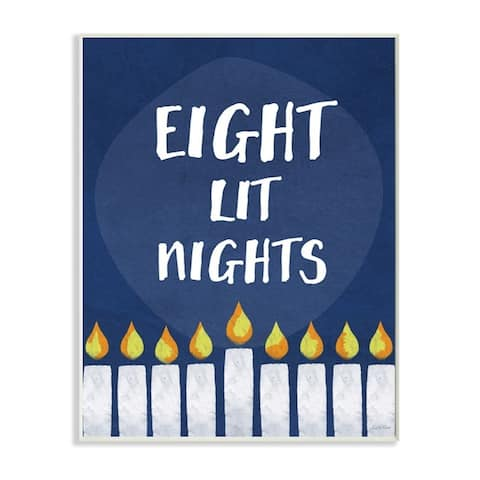 Stupell Industries Eight Lit Nights Hanukkah Holiday Blue Word Design Wood Wall Art, Proudly Made in USA