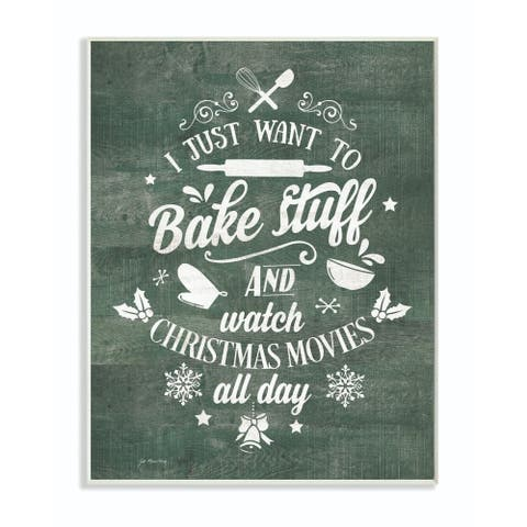 Stupell Industries I Want to Bake Stuff Christmas Holiday Green Word Design Wood Wall Art, Proudly Made in USA