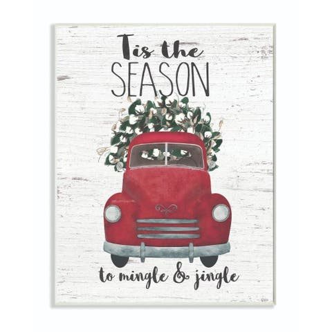 Stupell Industries Mingle and Jingle Red Truck Christmas Holiday Word Design Wood Wall Art, Proudly Made in USA