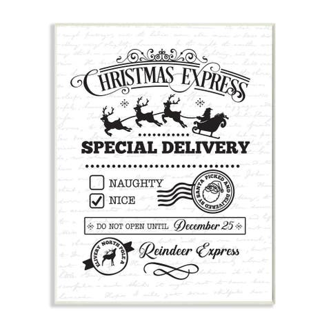 Stupell Industries Christmas Express Package Holiday Word Design Wood Wall Art, Proudly Made in USA