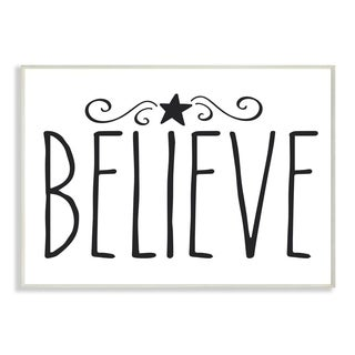 Stupell Industries Believe Christmas Holiday Black And White Word Design Wood Wall Art, Proudly Made in USA