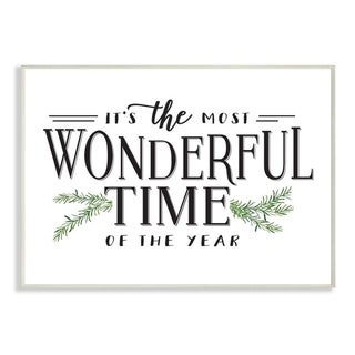 Link to Stupell Industries Most Wonderful Time Christmas Holiday Word Design Wood Wall Art, Proudly Made in USA Similar Items in Christmas Decorations