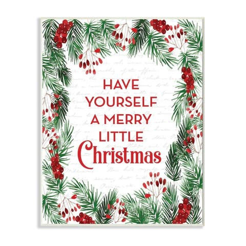 Stupell Industries Merry Little Christmas Pine Wreath Holiday Word Design Wood Wall Art, Proudly Made in USA