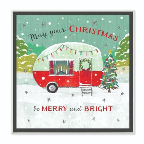 Stupell Industries Merry And Bright Christmas Camper Holiday Word Design Wood Wall Art, 12 x 12, Proudly Made in USA