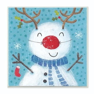 Stupell Industries Happy Reindeer Nose Snowman Holiday Drawing Wood Wall Art, 12 x 12, Proudly Made in USA