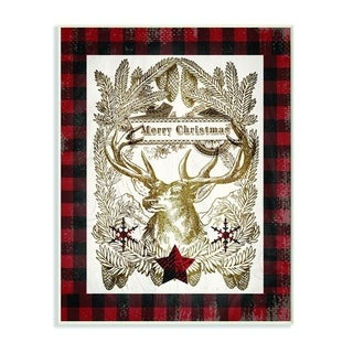Stupell Industries Merry Christmas Moose Plaid Red Holiday Design Wood Wall Art, Proudly Made in USA