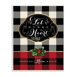 Stupell Industries Let Every Heart Plaid Holiday Christmas Word Design Wood Wall Art, Proudly Made in USA