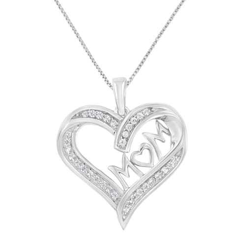 Sterling-Silver 1/4ct TDW Diamond Engraved Mom in Heart Pendant Necklace (I-J, I3)