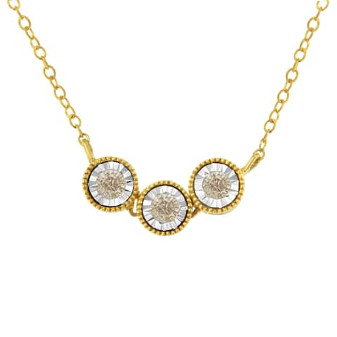 Two-Toned Sterling-Silver 1/4ct TDW Champagne Diamond 3 Stone Necklace (I2-I3, K-L)