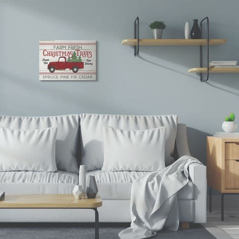 Stupell Industries Farm Fresh Christmas Trees Red Truck Holiday Word Design Canvas Wall Art, Proudly Made in USA
