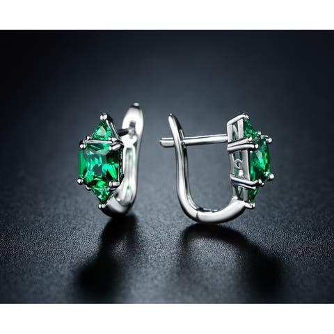 Princess Cut Green Emerald Earrings with English Lock Closures