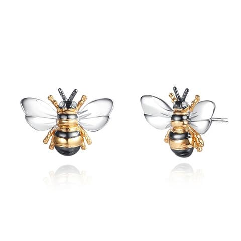 Shimmering Bumble Bee Earrings Made with 18k Gold Overlay