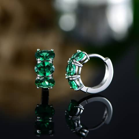Three Stone Oval Emerald Earrings Made with White Gold Overlay