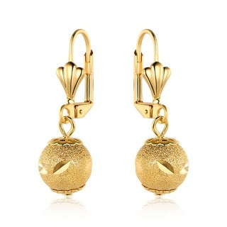 Shimmering Rustic Ball Drop Earrings Made with 18k Gold Overlay and Lever Back Closures