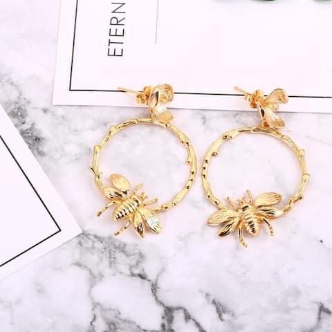 18k Gold Plated Bumble Bee Hoop Style Drop Earrings