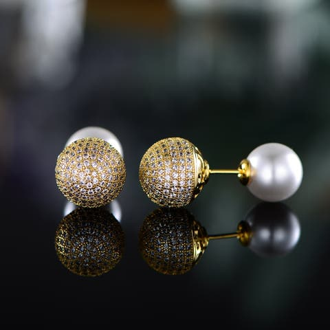 Gold Plated Freshwater Pearl Stud Earrings Made with Swarovski Crystal