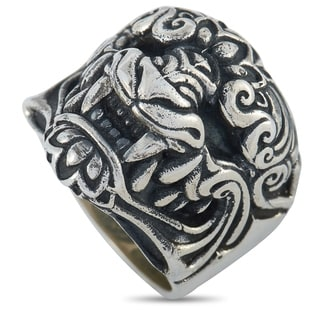 King Baby Sterling Silver Oni Mask Ring Size 8