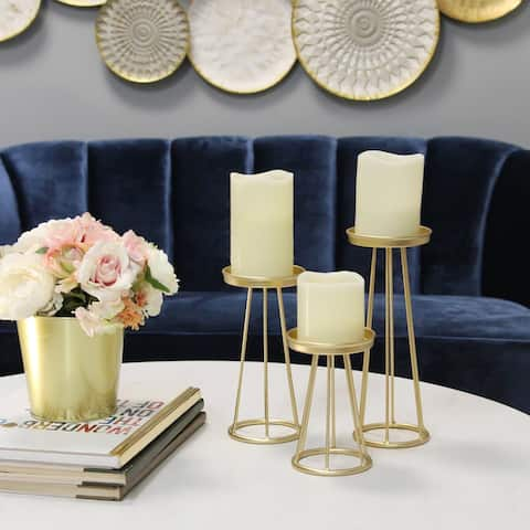 Silver Orchid Menichelli Gold Metal Candlestick (Set of 3)
