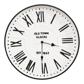 "Stratton Home Decor 16"" Metal Enamel Parker Wall Clock - 16 inch Diameter"