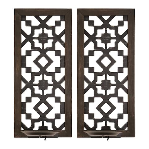 The Curated Nomad Theld Boho Laser-cut Candle Sconce (Set of 2)