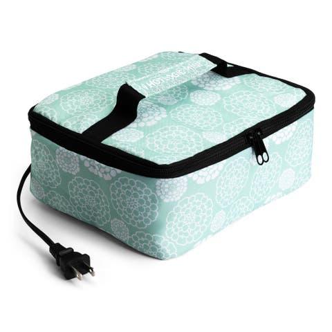 HOTLOGIC Food Warming Tote, Lunch Bag 120V, Aqua Floral