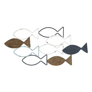 Stratton Home Decor Wood and Metal School of Fish Wall Décor