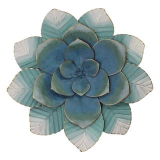 Stratton Home Decor Blue Ombre Metal Flower Wall Decor