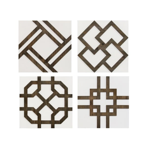 Stratton Home Decor Set of 4 Wood Accent Wall Décor