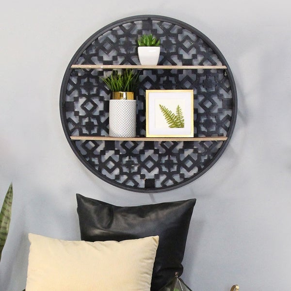 The Curated Nomad Theld Oversized Decorative Boho Wall Shelf. Opens flyout.