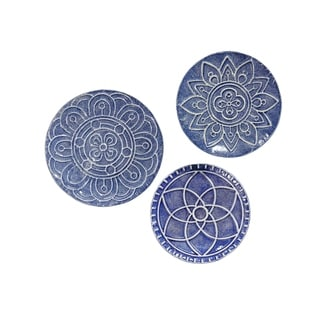 Stratton Home Decor Set of 3 Mykonos Metal Plates Wall Décor