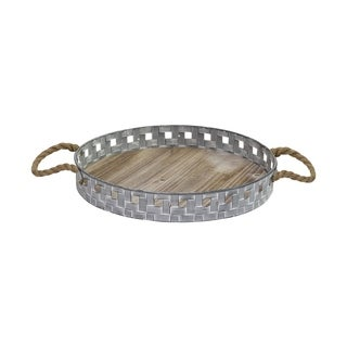 Stratton Home Decor Woven Metal and Wood Tray