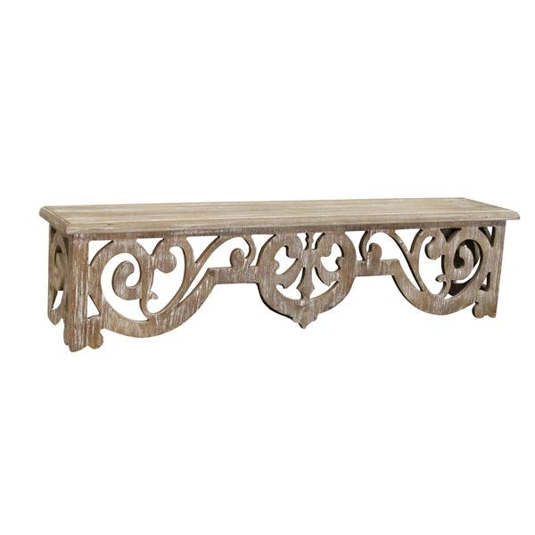 Stratton Home Decor Vintage Wood Scroll Wall Shelf Overstock 29602710