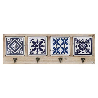 The Curated Nomad Buraen Blue and White Accent Tile Coat Rack