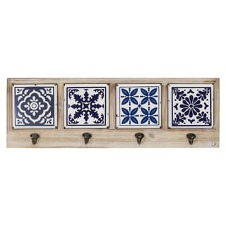 Link to The Curated Nomad Buraen Blue and White Accent Tile Coat Rack Similar Items in Accent Pieces