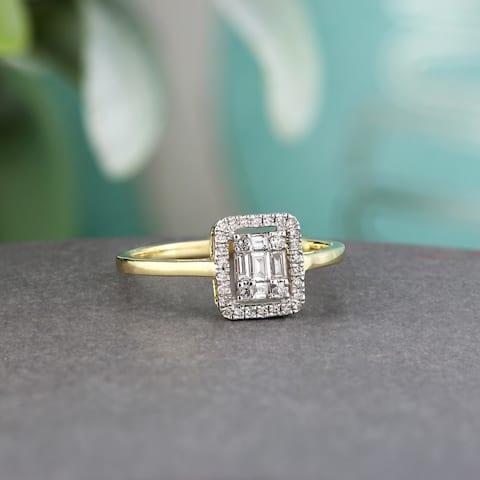 Auriya 14k Gold 1/4ctw Diamond Emerald Shape Halo Engagement Ring