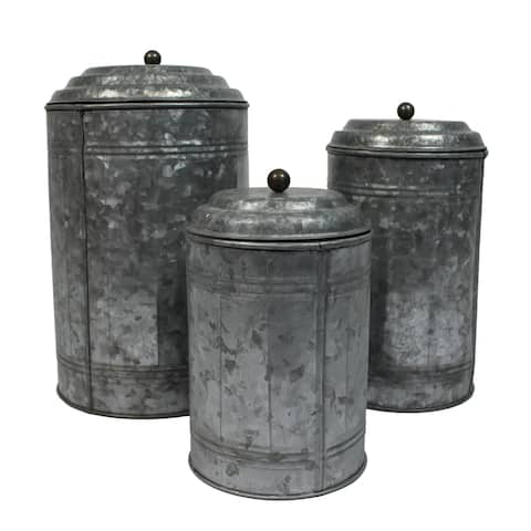 Modern Farmhouse Galvanized 3-Piece Canister Set