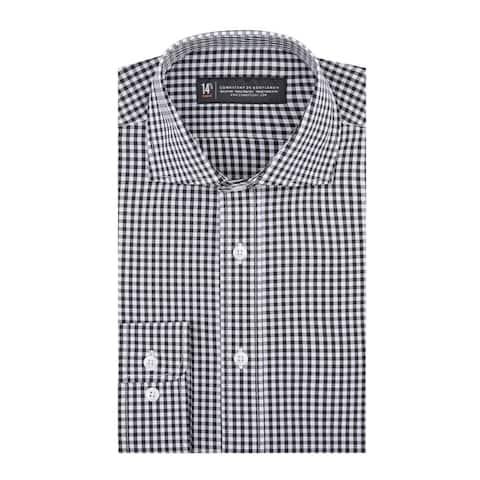 CG Cotton Black Window Pane Slim Fit Long Sleeve Shirt