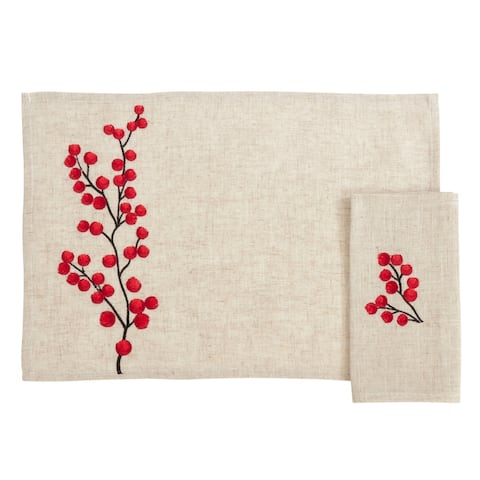 Placemat and Napkin Set With Embroidered Berry Design (Set of 8pcs)