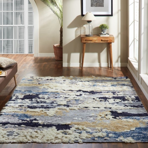 The Curated Nomad Tolledo Blue Tones Shag Area Rug