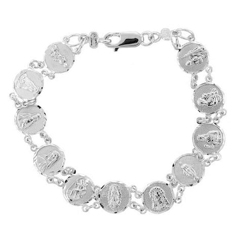 14K White Gold Saints Medal Bracelet (7-8 Inch)