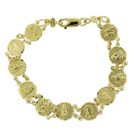14K Yellow Gold Saints Medal Bracelet (7-8 Inch)
